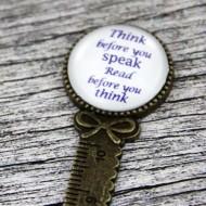 "Semn de carte, cu mesajul - ""Think before"""