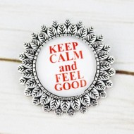 "Brosa sun flower cu mesaj personalizat ""Keep calm and feel good"""