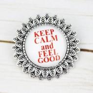 "Brosa sun flower cu mesaj personalizat ""Keep calm and feel good"""
