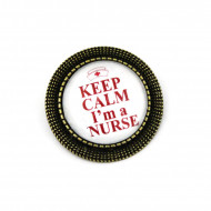 "Brosa personalizata bronz - ""Keep calm, I'm a nurse"""