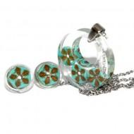 Set bijuterii inox, rondele din turcoaz