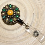 Accesoriu ecuson cu mandala galben&verde