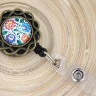 Accesoriu ecuson floricica bronz, personalizat cu mandala traditionala