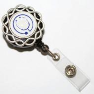 Accesoriu ecuson stetoscop albastru - model floricica