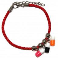 Bratara cu pastilute din rasina colorate si snur rosu