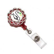 Accesoriu ecuson rosu, personalizat cu pastiluta fimo verde deschis, pe baza floricica