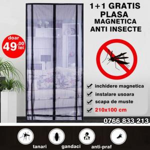 1+1 GRATIS - PLASA ANTI-INSECTE CU MAGNET 210X100cm