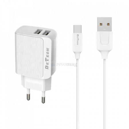 Incarcator retea DeTech, DE-09C, 5V/2.4A, Universal, 2 x USB, cu cablu Type-C 1.0m