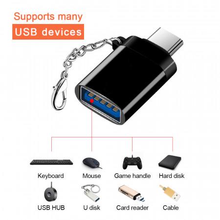 Adaptor OTG USB 3.0 la USB Type-C - High Speed - Tip Breloc