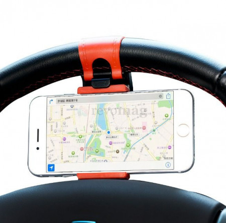 Suport Auto pentru Telefon cu fixare pe Volan - Universal