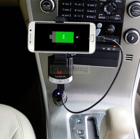 Bluetooth Car Kit cu Suport Flexibil, Modulator FM, DSP, AUX, Incarcator
