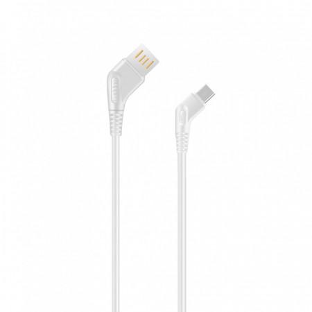 Cablu de date / incarcare Earldom USB Type-C, 1.0m 3A, Unghi 45 grade, Alb