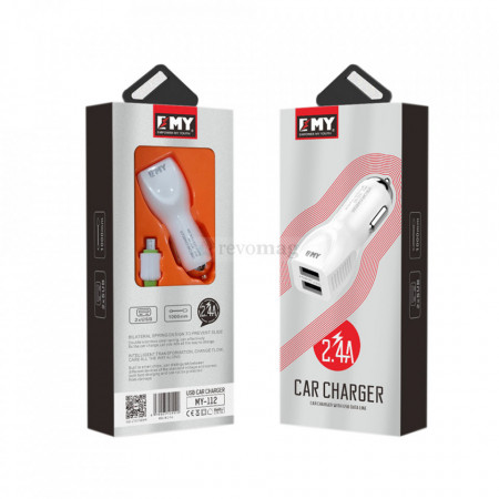 Incarcator Auto EMY MY-112, 5V 2.4A, Universal , 2xUSB, cu cablu Type-C 1.0M