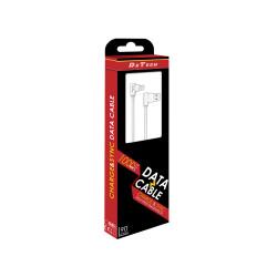 Cablu de date / incarcare DeTech USB Type-C, 1.0m 2A, Unghi 90 grade, Alb