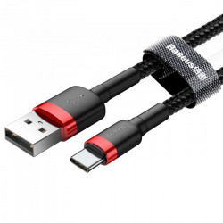 Cablu Date Telefon , cu Led , Baseus Cafule Nylon , USB / USB-C , 3A , 1M , Negru/Rosu