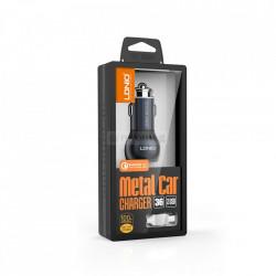 Incarcator auto LDNIO, Quick Charge 3.0, 2xUSB, cu cablu USB - Type-C