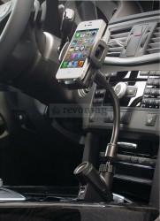 Suport Telefon cu Brat Flexibil pt. Masina cu Incarcator Integrat Dual USB 2.1A