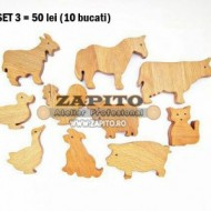 Figurine din lemn - set animale domestice din lemn (10 buc/set)