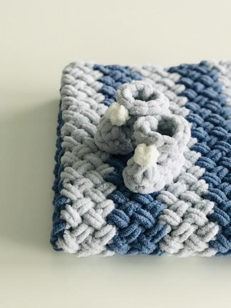 Păturica Soft Blue + Botoșei Gri