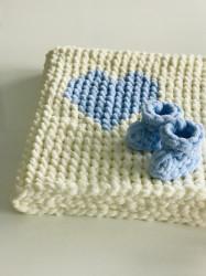 Păturica Blue Heart + Botoșei