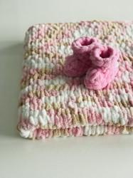 Păturica Soft Rosa + Botoșei Roz