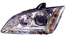 Farol Esquerdo Eletrico Transparente C/ Motor Ford Focus II 04-08