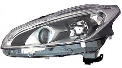 Farol Esquerdo Led Fundo Negro H7+H7+Led Peugeot 208 15-