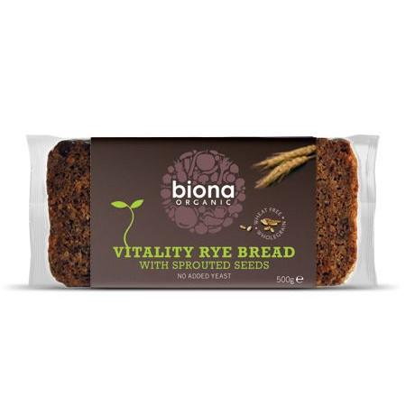 Paine integrala de secara Vitality cu seminte germinate eco 500g Biona