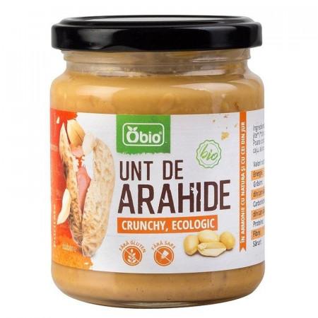 Unt de arahide crunchy bio 250g Obio