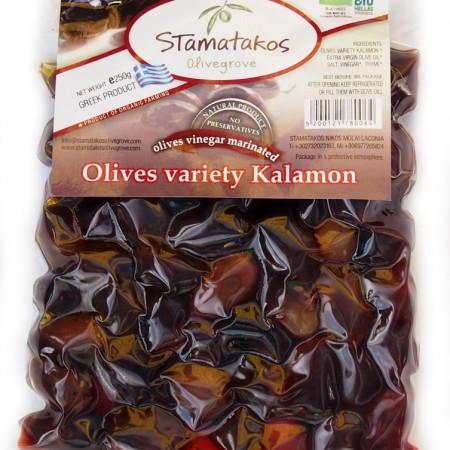 Masline Kalamata vidate marinate in otet bio 250g Stamatakos