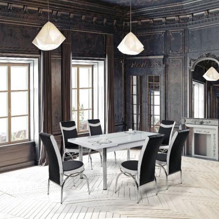 Set masa extensibila cu 6 scaune Olimpia Alb+ Negru