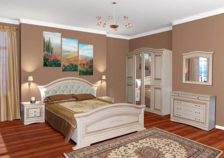 Set Dormitor Nikol, MDF Alb / Auriu