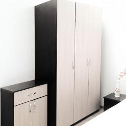 Dormitor modern Dorin D1, PAL melaminat, pat + dulap 3 usi + noptiere + comoda,