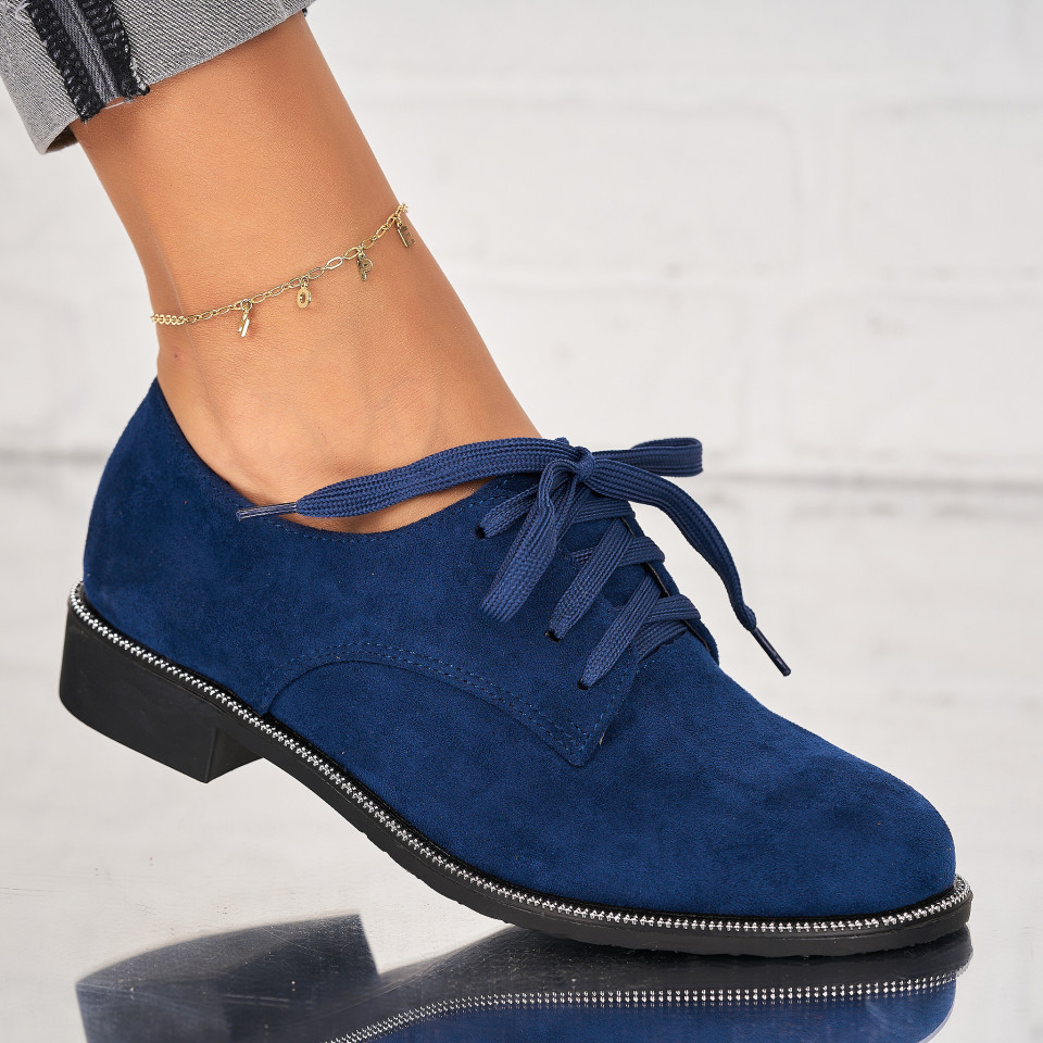 Pantofi Casual Piele Ecologica Intoarsa Bleumarin Arin X7025