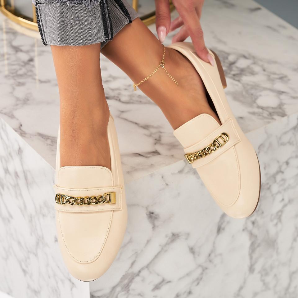 Pantofi Casual Piele Ecologica Bej Avielle X7042