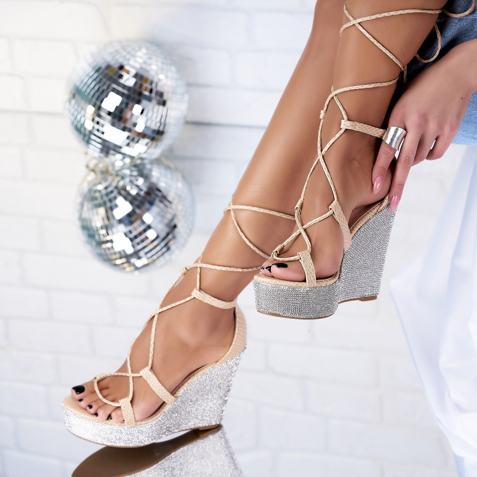 Sandale cu Platforma Piele Ecologica Bej Mirian X3623