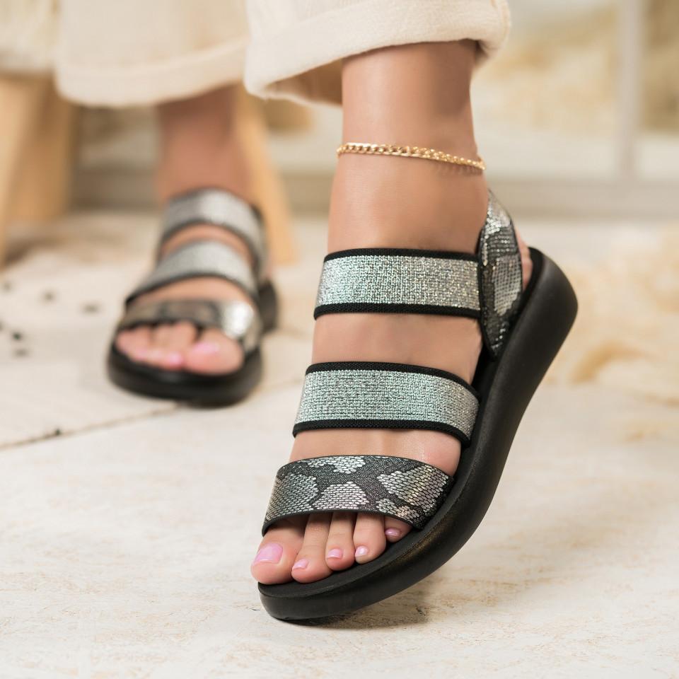 Sandale fara Toc Textil,Piele Ecologica Negre Diarra X2791