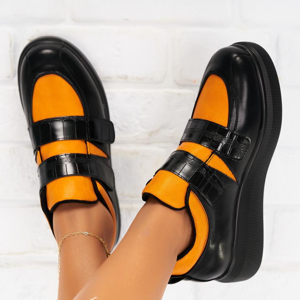 Pantofi Casual Piele Ecologica Portocalii Randi X6325