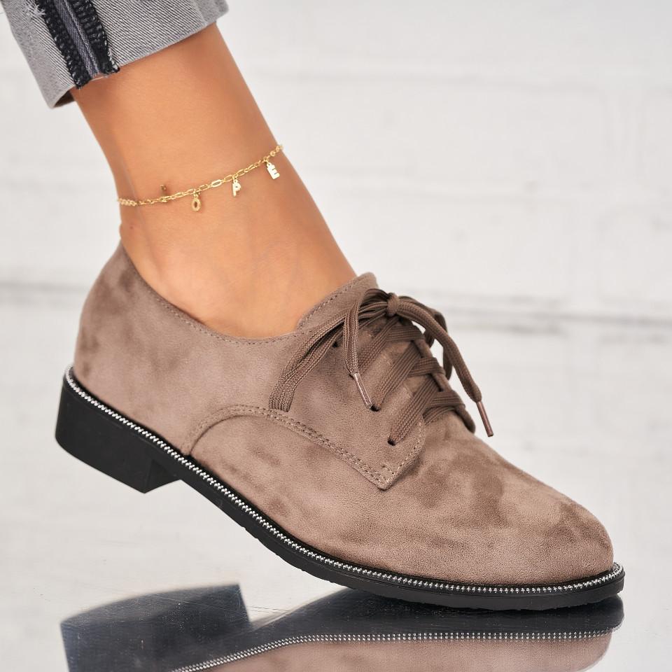 Pantofi Casual Piele Ecologica Intoarsa Kaki Arin X7024