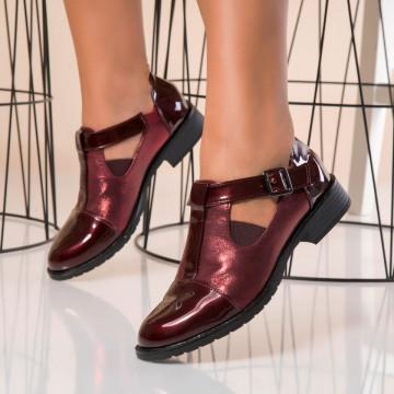 Pantofi Casual Dama Piele Ecologica Lacuita Bordo Alma B9899