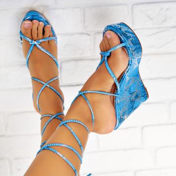 Sandale cu Platforma Piele Ecologica Albastre Ivanna X3948