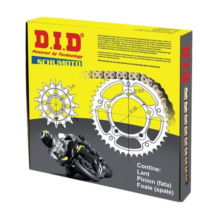 DID - Kit lant KTM 360SX / 360EXC, pinioane 14/50, lant 520VX3-118 X-Ring (cu nit)<br> (Format din 105-411-14 / 115-464-50 / 1-460-118)