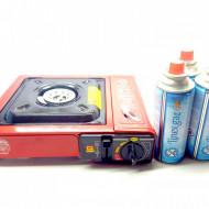 Aragaz/Arzator/ Incalzitor Camping/Voiaj Portabil + 3 buc. butelie Spray GAZ