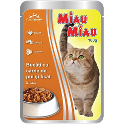 Hrana umeda pisici 100g Miau Miau de pui