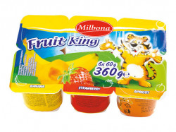 Branza de vaci cu fructe 6x60g Milbona