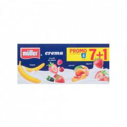 Iaurt cu fructe, crema, 4 arome, 7+1 gratis, Muller