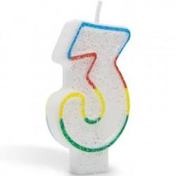 Lumanare aniversara pentru tort, cifra 3