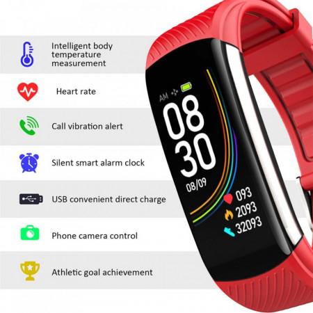 Ceas Sport Smart Fitness Tracker Smartwatch C6T, Rosu