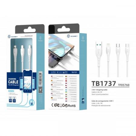 Cablu USB 3In1 2.4 1M alb, PMTF057603