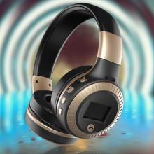 Casti fara fir, cu microfon, bluetooth 4.2, suport card 32GB, radio FM, noise cancelling, B19